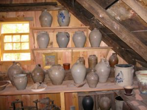 Guy keeps his personal collection above the showroom.  This is old English stoneware.