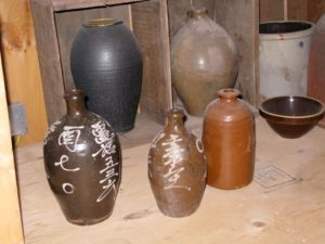 These sake jars are historic Tamba Ware from Kyoto.