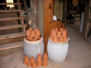 These pots are give-aways for anyone visiting the pottery.