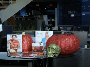 We also talked about some of our products which are current hot-sellers, such as our popular Halloween decorations and my newest book, Martha Stewart's Dinner at Home.