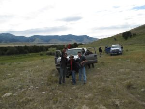 Some of the numerous film crew waving at us near the bison herd.