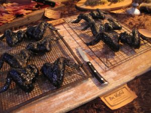 Creepy Bat wings - chicken wings in a black bean marinade - very yummy