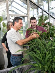 Byron was very helpful in the greenhouse explaining to Shaun how to get rid of various plant pests.
