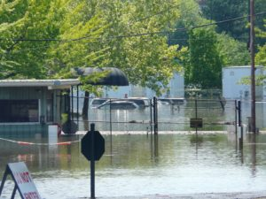 Kevin's car was parked at the Opry lot.  It can now be seen, but it had been completely submerged.