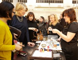 Here I am looking at Hannah Milman's gorgeous handmade jewelry.