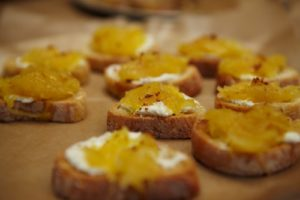 Toasts topped with roasted spaghetti squash and ricotta