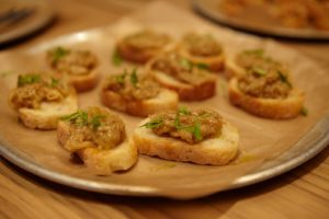 Toasts with roasted eggplant