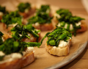 And toasts with Broccoli rabe and ricotta