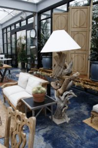 This distinctive floor lamp is constructed out of pieces of driftwood.
