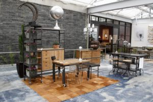 Contemporary furnishings in the showroom
