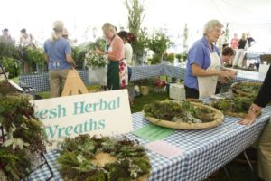 This area of the tent smelled especially fragrant.  Betsy Jacobs demonstrated how to make herbal wreaths.