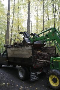 The branches are then transferred onto the dump truck.