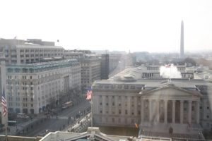 That is the Treasury Building with the mall and the Washington Monument in the distance.  The street, the parade route, was already lined with guards at 10:30 AM.