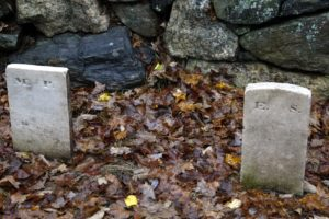 These are footstones, marked only with initials.