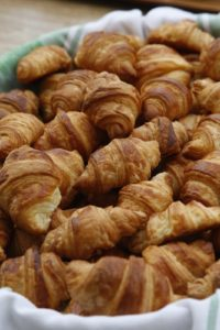 Breakfast included flaky and buttery croissants.