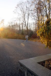 Early in the morning, before the crew of Nightline arrived, Gyurme neatened up the gravel on the driveway.