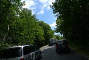 The traffic jam in Acadia National Park on Ocean Drive - the drive was closed because of the emergency.
