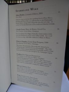 Here is a page of the wine menu highlighting the sparkling wines.