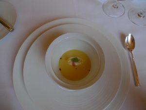 A corn soup as a starter - It was a pure essence of sweet summer corn kernels.