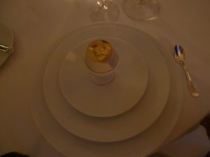 A mousse of egg topped with gold leaf - exquisite!