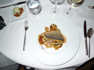 My wonderful plate of perfectly cooked black bass