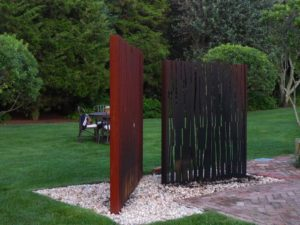 This is one of Greg Yale's fire displays constructed of rusty-looking corten steel.