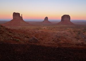 Monument Valley, Utah, after sunrise, East Mittens - taken with Lumix LX3
