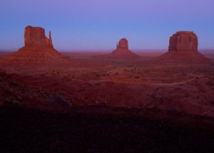 Monument Valley, Utah, just after Sunrise, east mittens - taken with Lumix LX3