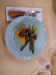 The polenta wedges and asparagus are topped with sauteed mushrooms - only 261 calories per serving!
