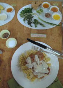 The Pork Paillard with Sour Cream Paprika Sauce served on rotini pasta