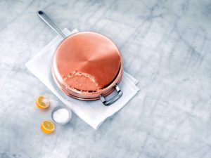 """There are several ways to clean copper. One method is chemical-free - just use lemon juice and salt. For ratios and more details, go to How to Clean and Polish Copper """"Using Lemon Juice and Salt to Remove Tarnish"""" on my web site @marthastewart.com."""