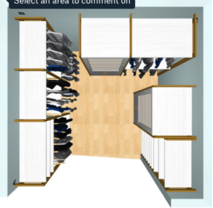 Using measurements of the space, Kirk, Jen and the California Closets design team came up with a number of great arrangements using their special CAD technology. (Image courtesy of California Closets)