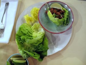 When cooked, the turkey mixture is wrapped in tender leaves of bibb lettuce - only 246 calories per wrap!