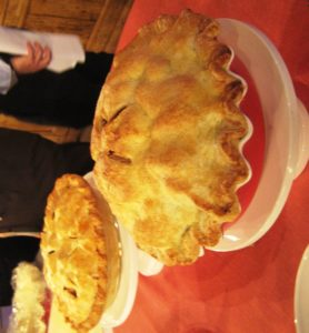 The finished pies - Meredith's delicious apple pie of her mother's is behind my mile-high apple pie.