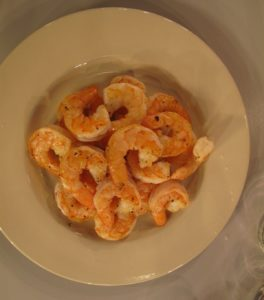 The shrimp are sauteed in olive oil.