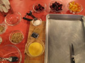 Ingredients for the Apricot-Cherry Puff Pastry Tart - The dough is simply placed on a baking sheet, loaded with fruit, sprinkled with a mixture of walnuts and brown sugar and baked.