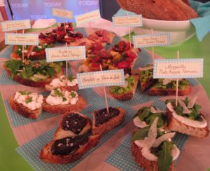 A beautiful array of bruschetta options - colorful, delicious, and easy as toast!