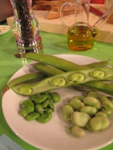 Fava beans - The beans are removed from the pod, then boiled and skinned.