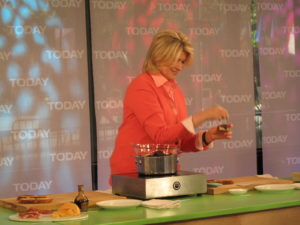 Here I am during a 'tease' before the actual segment topping melted chocolate with fleur de sel, a type of sea salt.