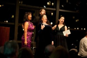 Laquita Mitchell, Michael Todd, Kirsten Chavez, and Camille Zamora sing from the opera Carmen. Photo Credit Nan Melville