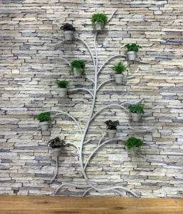 My 71-inch Metal Wall Tree is so much fun to use. Here it is in gray. The trees are easy to install on any kind of wall – wood, plaster, and even concrete.