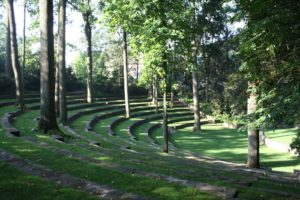 The amphitheater was designed by Thomas W. Sear, a landscape architect.  He was in the first graduating class of Harvard in 1906 in landscape architecture and began his career working for the very famous architecture firm of the Olmstead Brothers in Brookline, Massachusetts before settling in Philadelphia to work on major projects including this one, as well as Mt. Cuba