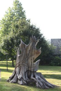 This is an extraordinary sculpture of a red oak leaf made from a soil piece of trunk of a very old dead red oak.