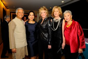 Muhammad Yunus, Monica Yunus (Sing for Hope's co-founder), Jane Fonda, Annette Allen, and Eva Haller (Chairman of the Board of Sing for Hope) Photo Credit Nan Melville
