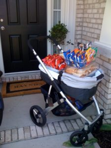 Luke's baby carriage all loaded up with lunch.