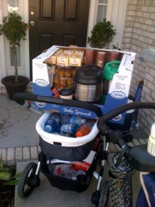 Luke's baby carriage all loaded for breakfast