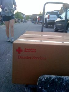The Red Cross delivered boxes of cleaning supplies.