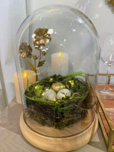 This is my Illuminated Spring Nest Cloche - a beautiful piece filled with real ferns, moss, twigs, and metallic speckled eggs. It's so charming and only requires three double-A batteries to light up.