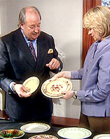 Lord Wedgwood goes over his collection of china with me. (OAD: 9/21/1998)