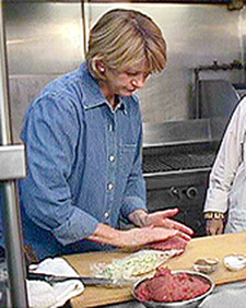The Lobster Club chef Anne Rosenzweig shows me how to make the restaurant's signature hamburger. (OAD: 11/5/1997)